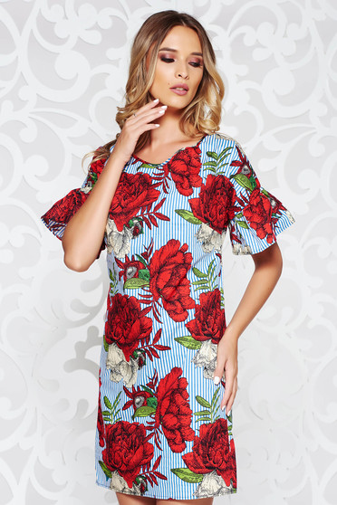 Red casual flared dress nonelastic cotton with floral prints