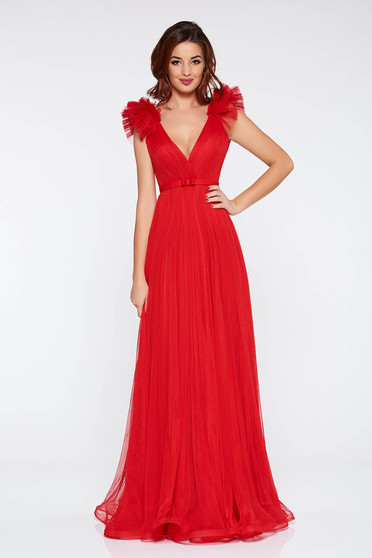 Ana Radu red luxurious dress from tulle with inside lining with deep cleavage with push-up cups