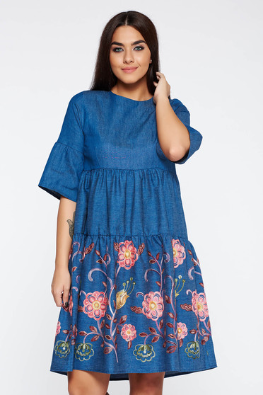Blue dress daily embroidered nonelastic cotton with easy cut