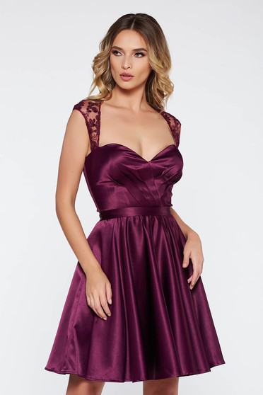 Artista purple occasional cloche dress from satin fabric texture with inside lining with push-up cups with sequin embellished details