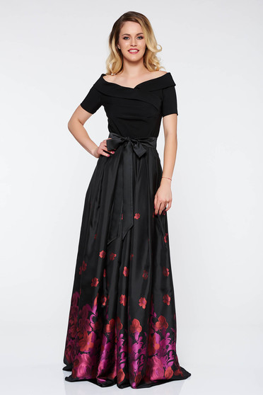 Artista purple occasional cloche dress from satin fabric texture with inside lining with floral prints