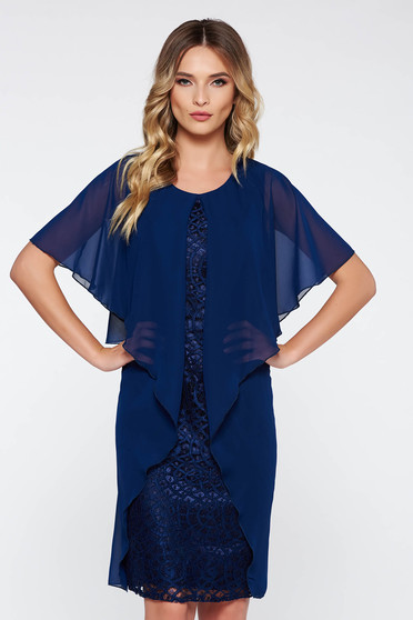 Darkblue occasional midi dress from laced fabric with inside lining voile overlay