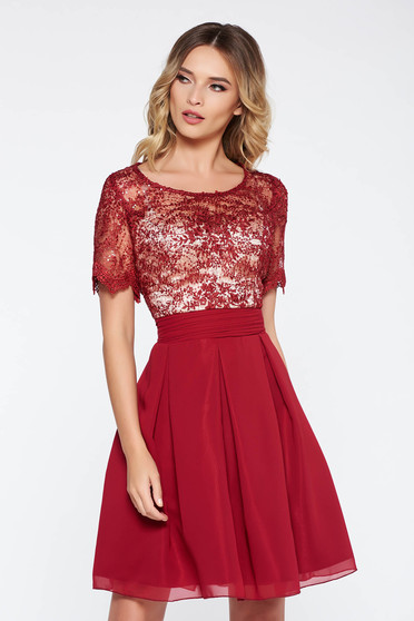 Burgundy occasional cloche dress from veil fabric with inside lining with embroidery details