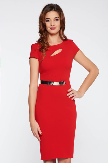 Red elegant dress with tented cut from soft fabric from elastic fabric accessorized with tied waistband