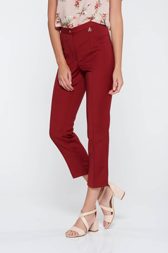 Burgundy office trousers slightly elastic fabric with medium waist