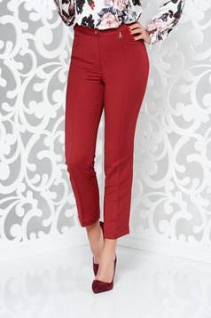 Burgundy office trousers slightly elastic fabric with medium waist