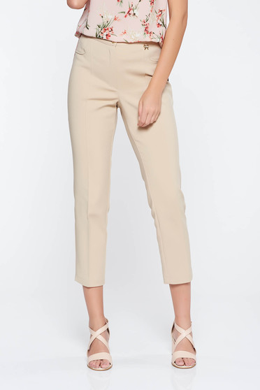 Cream office trousers slightly elastic fabric with medium waist