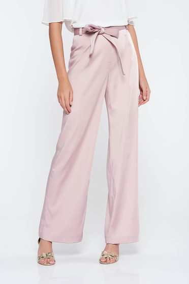 Rosa elegant high waisted flared trousers slightly elastic fabric accessorized with tied waistband