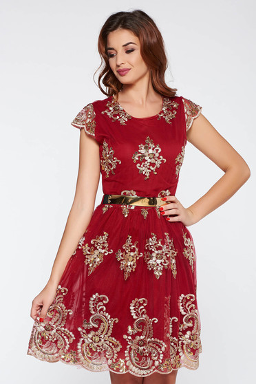 Burgundy occasional cloche dress with sequin embellished details from tulle with inside lining
