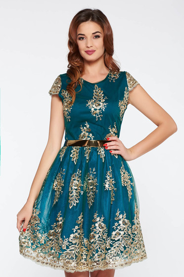 Green occasional cloche dress with sequin embellished details from tulle with inside lining