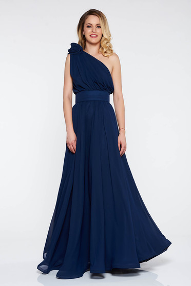Darkblue Ana Radu luxurious cloche dress from veil fabric with inside lining accessorized with tied waistband long