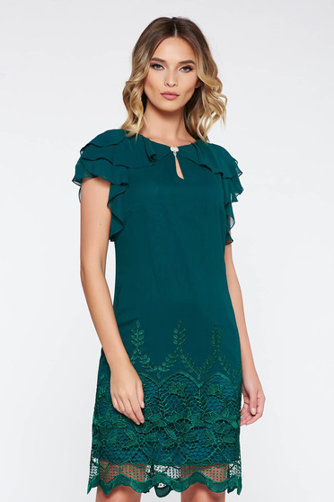 Darkgreen occasional flared dress with inside lining with lace details with ruffle details airy fabric