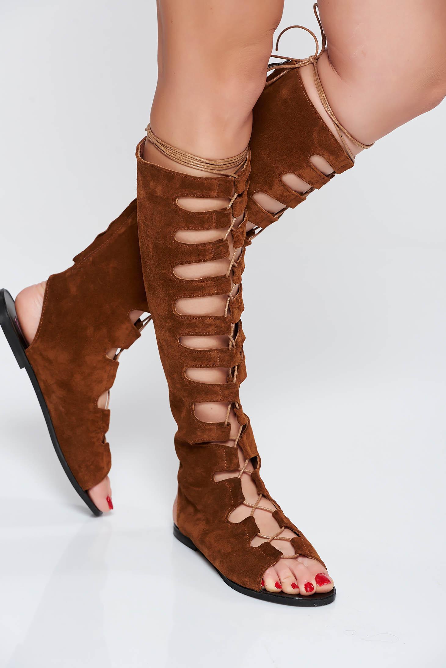 Sandale dama StarShinerS maro casual din piele naturala cu talpa joasa accesorizate cu snur