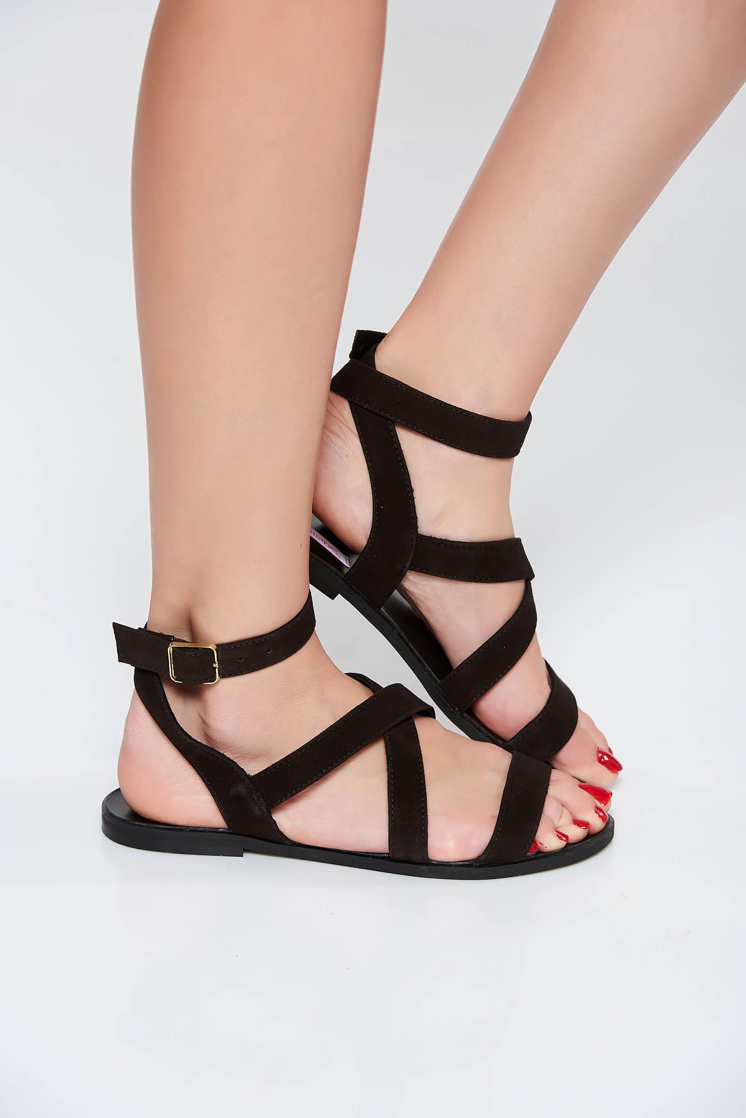 Sandale StarShinerS negre casual din piele naturala cu talpa joasa si barete subtiri