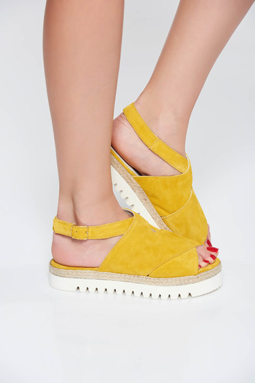 StarShinerS mustard casual sandals natural leather low heel light sole