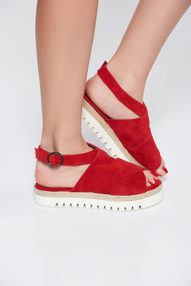 StarShinerS red casual sandals natural leather low heel light sole
