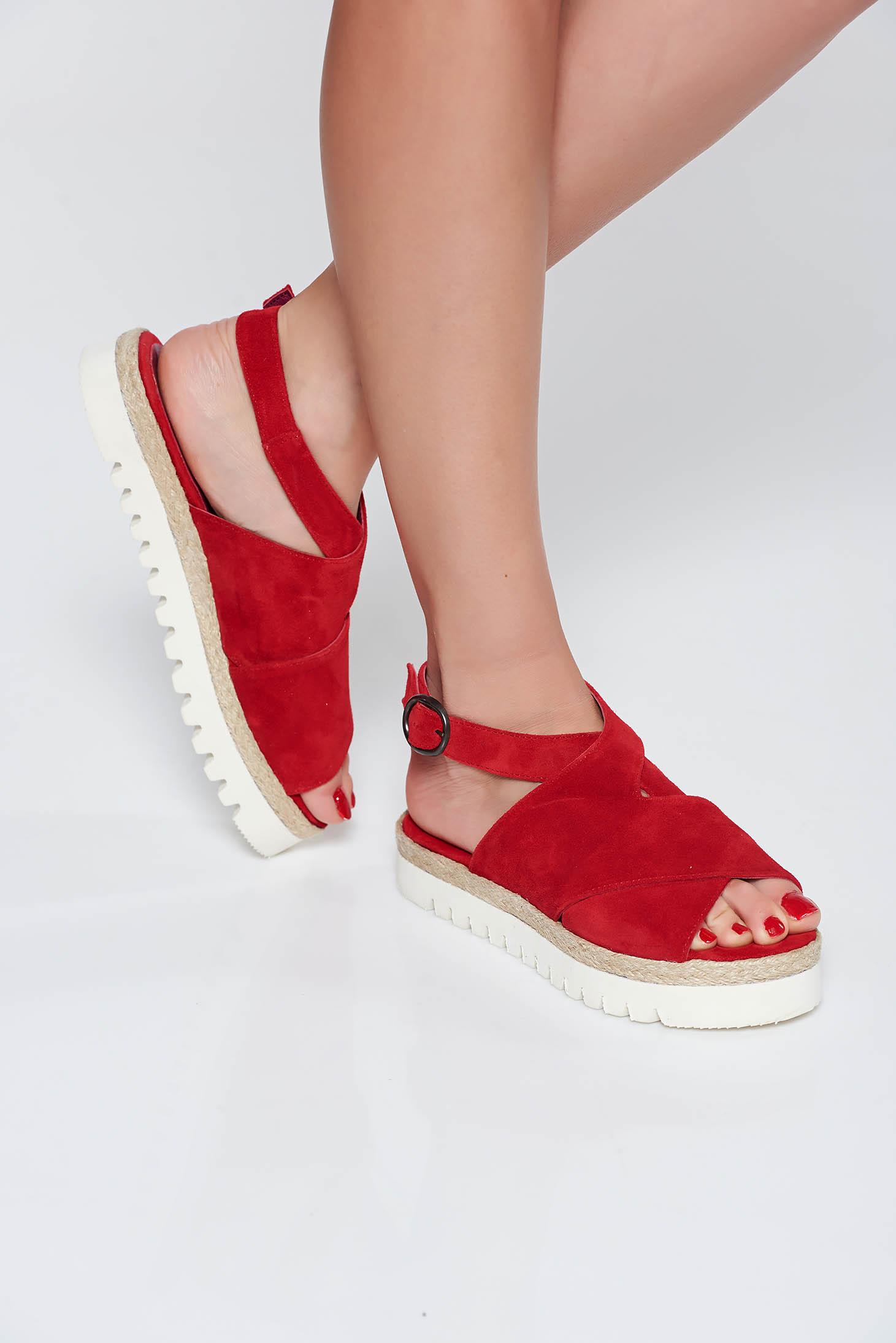 Sandale StarShinerS rosii casual din piele naturala cu talpa joasa si usoara
