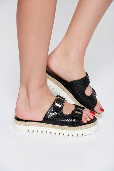 StarShinerS black casual slippers natural leather low heel with buckles accessories