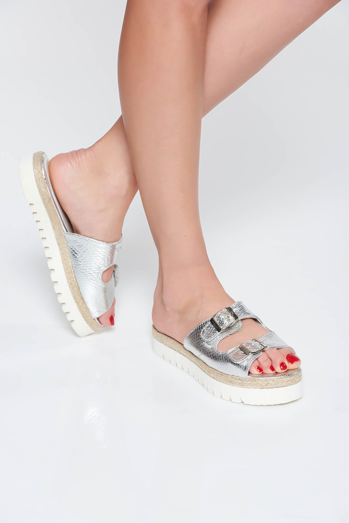 StarShinerS silver casual slippers natural leather low heel with buckles accessories