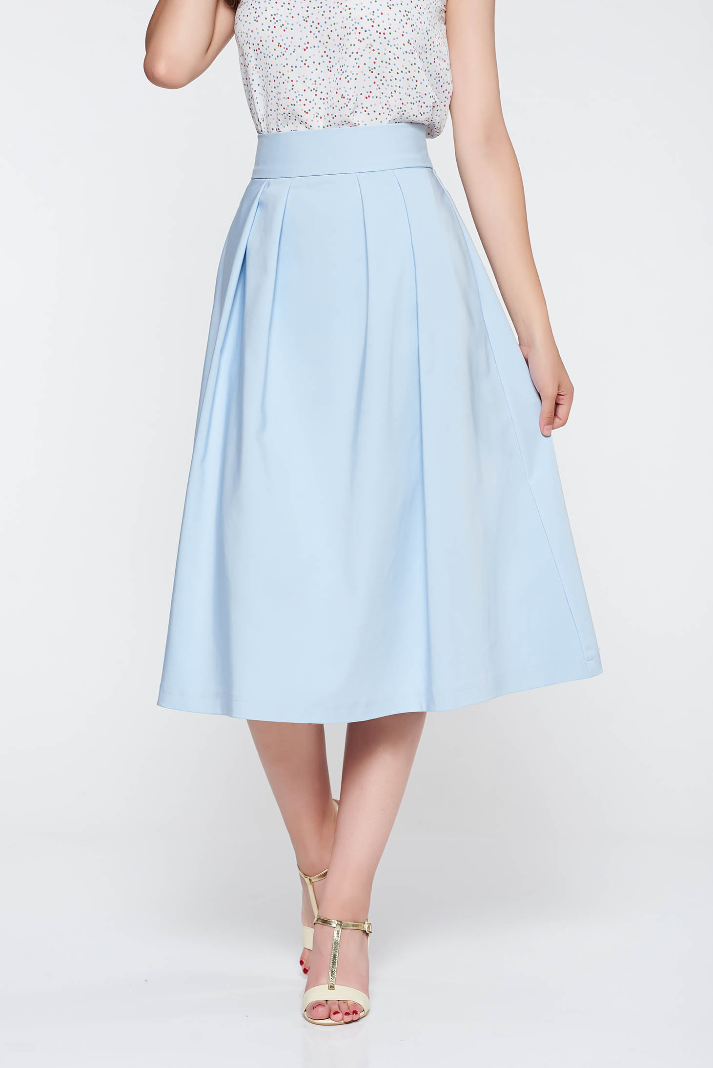 Fusta StarShinerS albastra-deschis eleganta in clos cu talie inalta din stofa neelastica