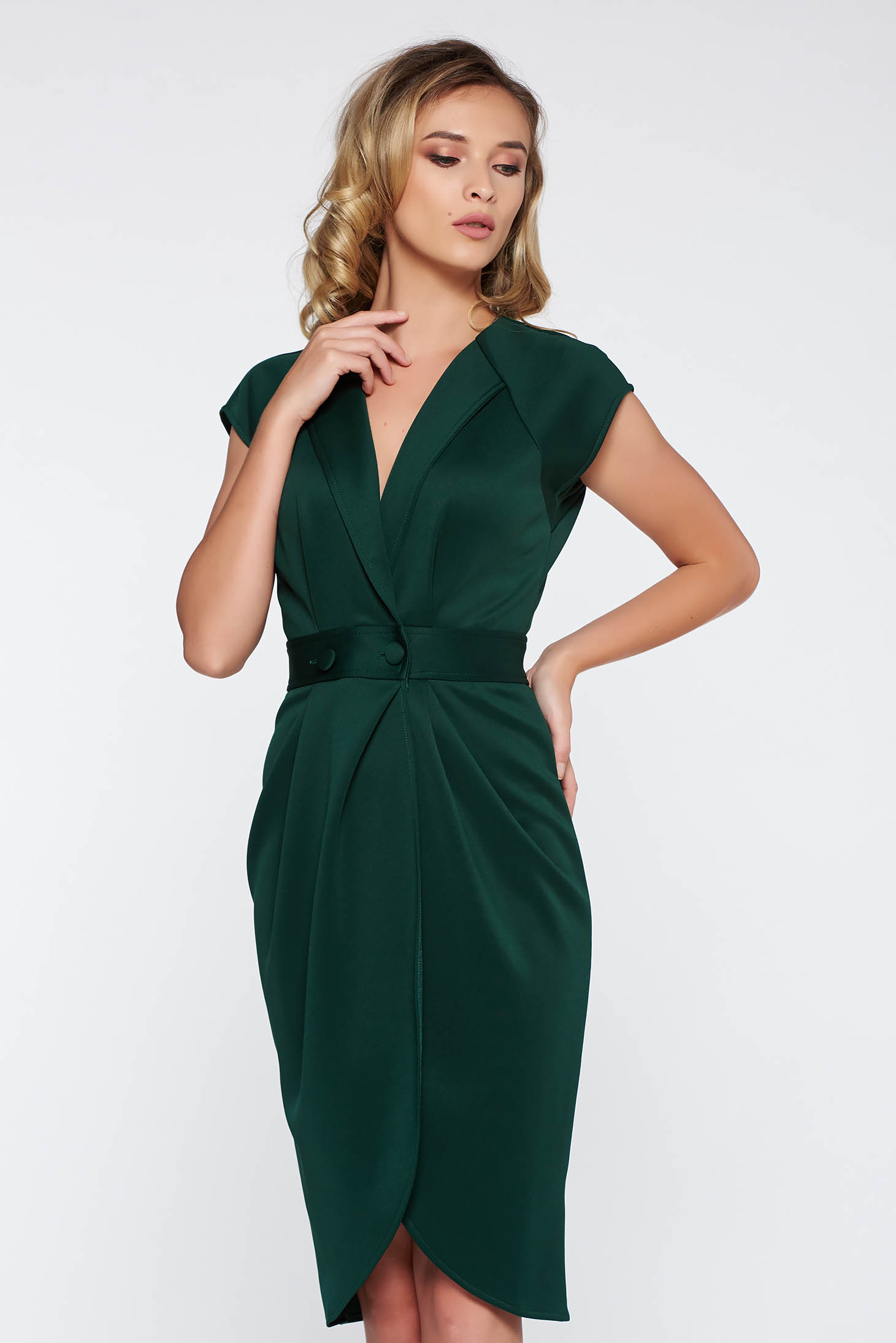 StarShinerS darkgreen elegant with tented cut dress soft fabric with v-neckline