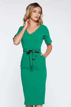 StarShinerS green elegant midi pencil dress from elastic fabric with pockets accessorized with tied waistband