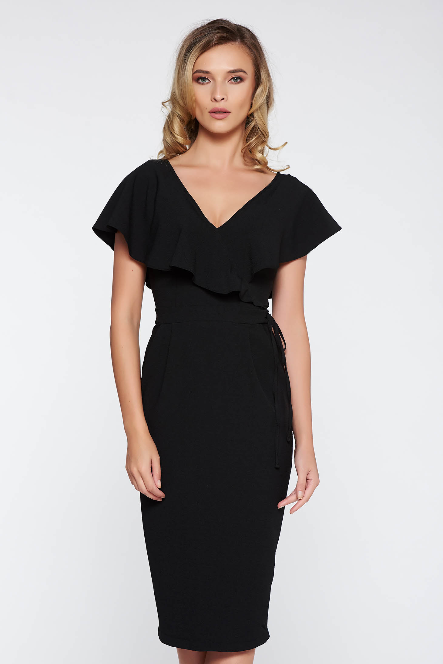 StarShinerS black elegant pencil dress slightly elastic fabric is fastened around the waist with a ribbon with v-neckline