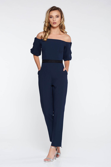 StarShinerS darkblue elegant jumpsuit slightly elastic fabric with tented cut with lace details