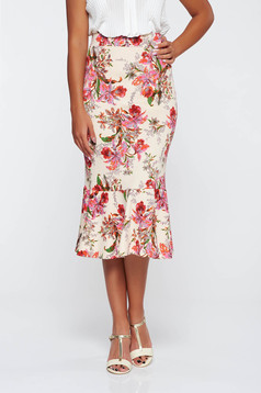 StarShinerS cream elegant midi high waisted skirt from elastic fabric with floral prints