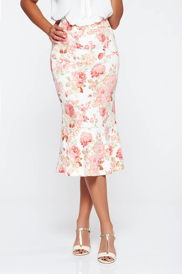 StarShinerS white with medium waist skirt with elastic waist with floral prints
