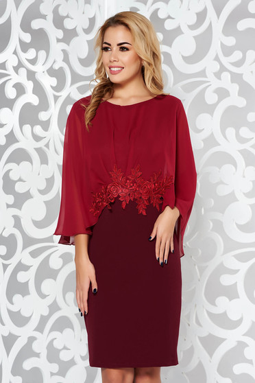 Burgundy occasional pencil dress slightly elastic fabric from veil fabric with embroidery details