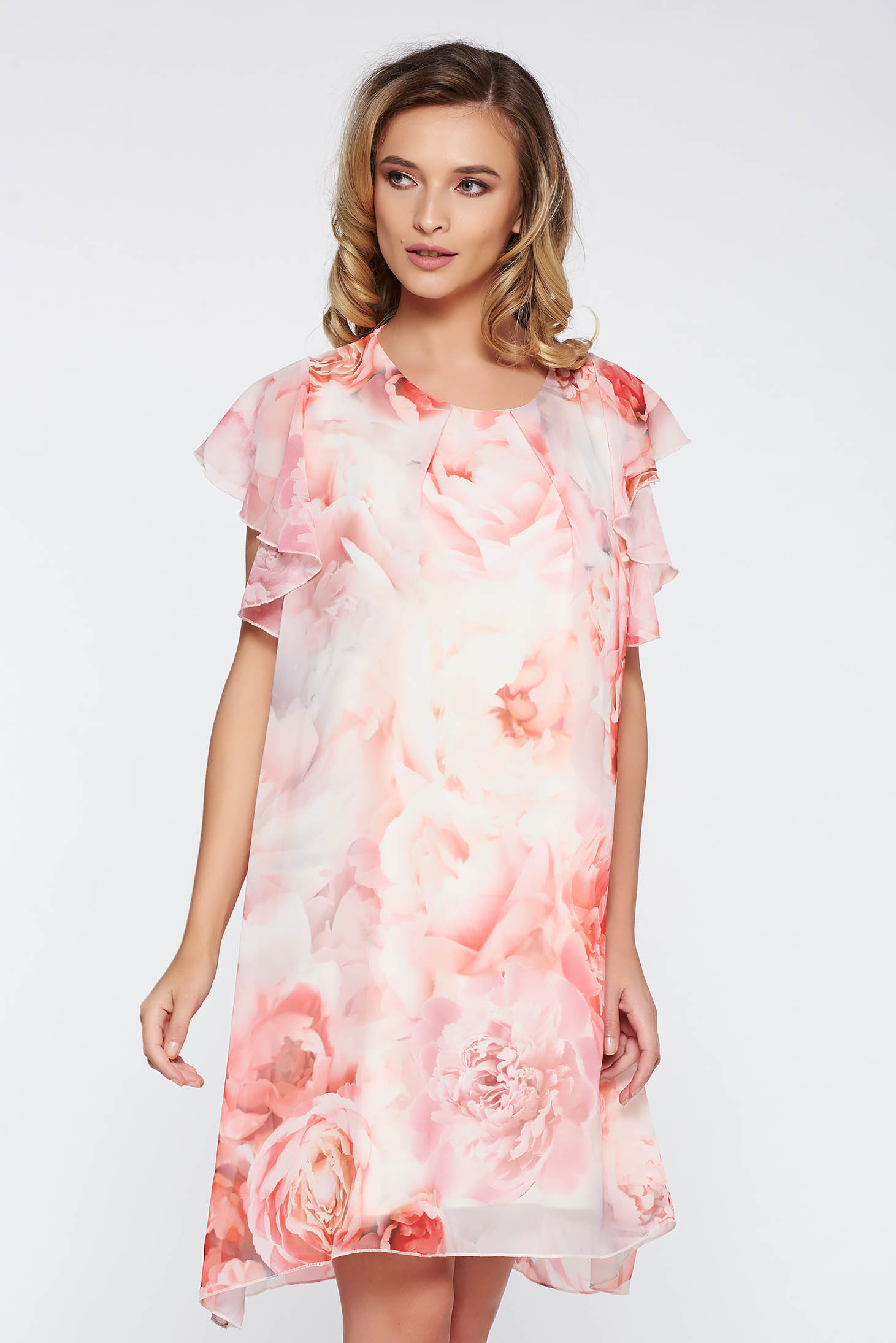 Rosa elegant flared dress transparent chiffon fabric with inside lining with floral prints