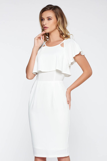 StarShinerS white elegant midi dress from soft fabric from elastic fabric with inside lining with ruffle details