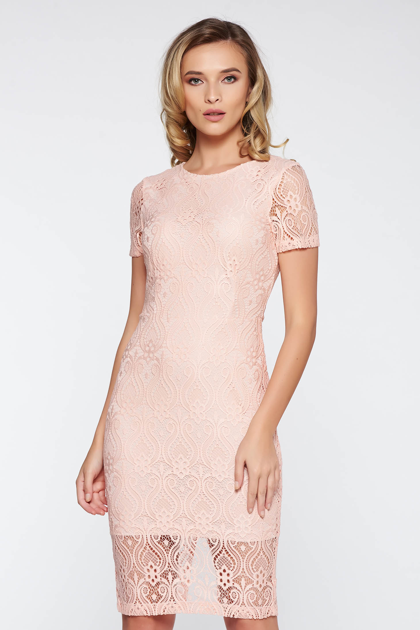 StarShinerS peach elegant midi pencil dress laced with inside lining
