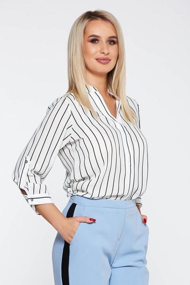 StarShinerS white elegant flared women`s blouse soft fabric