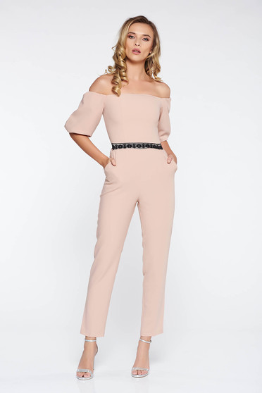 StarShinerS cream elegant on the shoulders jumpsuit slightly elastic fabric with tented cut with lace details