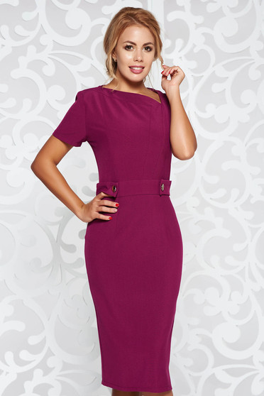 StarShinerS purple office pencil dress slightly elastic fabric with button accessories
