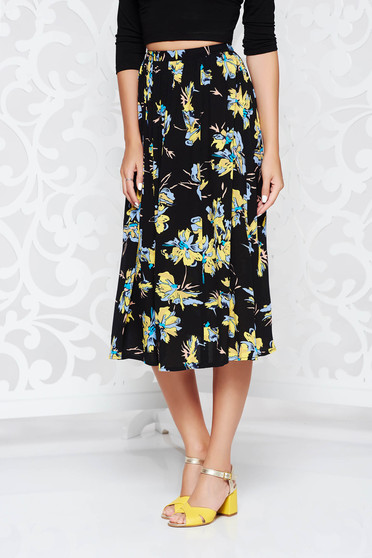 Black flaring cut high waisted skirt airy fabric with floral prints