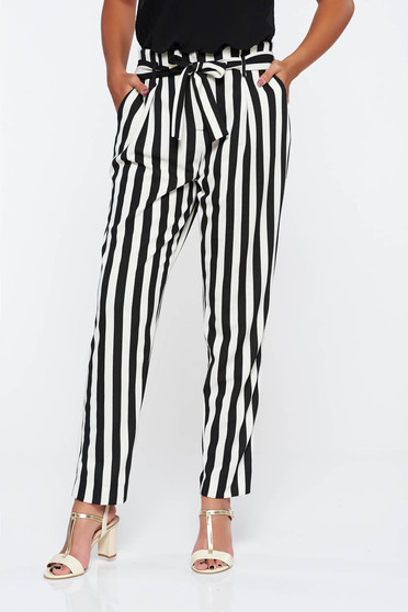 Black casual high waisted trousers slightly elastic fabric accessorized with tied waistband