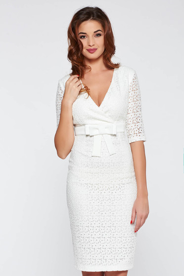 White occasional dress from laced fabric with tented cut with v-neckline