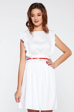 PrettyGirl white casual dress nonelastic cotton with ruffle details accessorized with belt