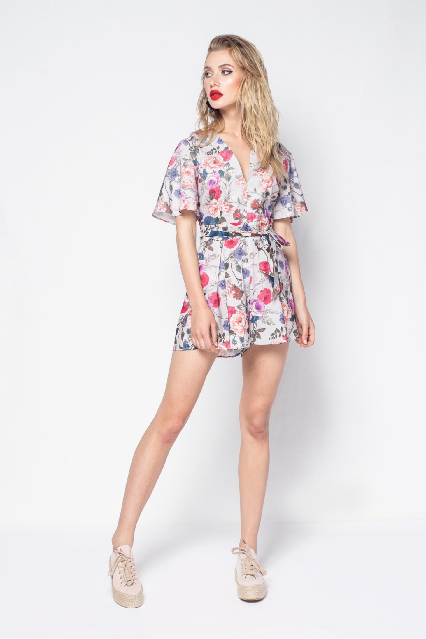 b3f5c75bfe57 PrettyGirl grey casual jumpsuit slightly elastic fabric with v-neckline ...