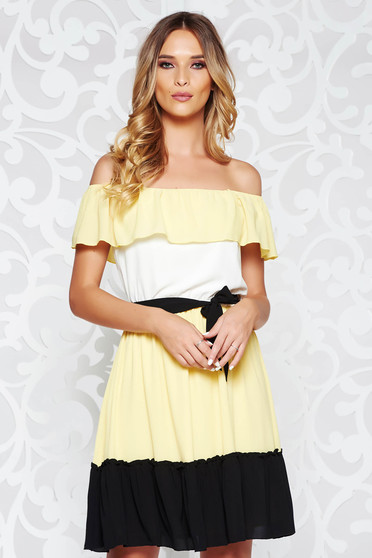 LaDonna yellow casual flaring cut dress on the shoulders accessorized with tied waistband