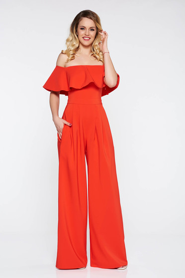 LaDonna red occasional jumpsuit slightly elastic fabric flared pants