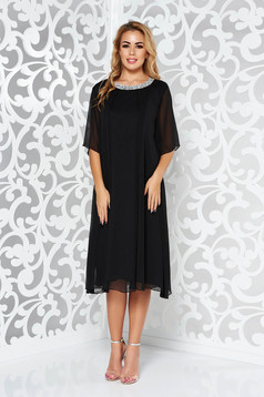 Black occasional flared dress airy fabric with inside lining with bright details