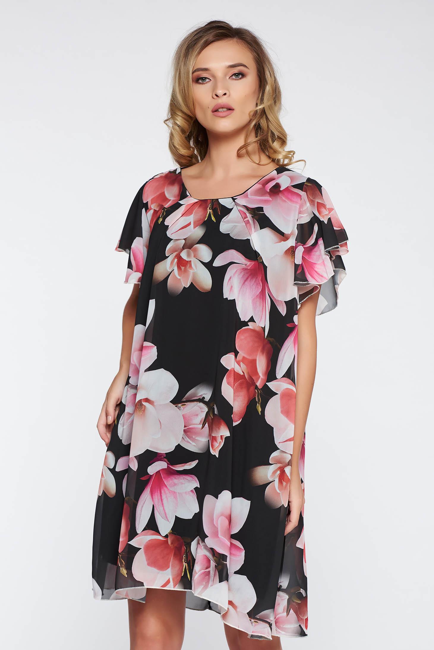 Rochie neagra eleganta cu croi larg din material vaporos si transparent captusita pe interior cu imprimeuri florale