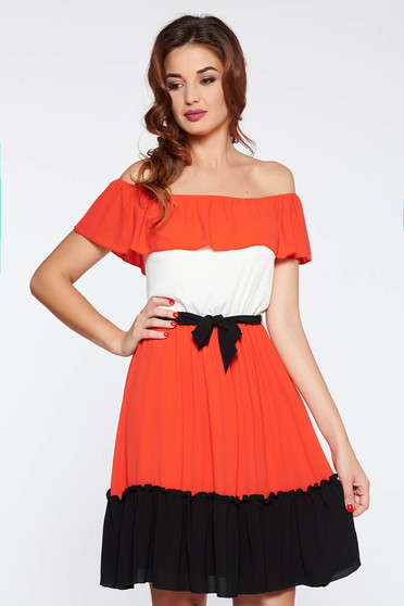 LaDonna coral casual flaring cut dress on the shoulders accessorized with tied waistband