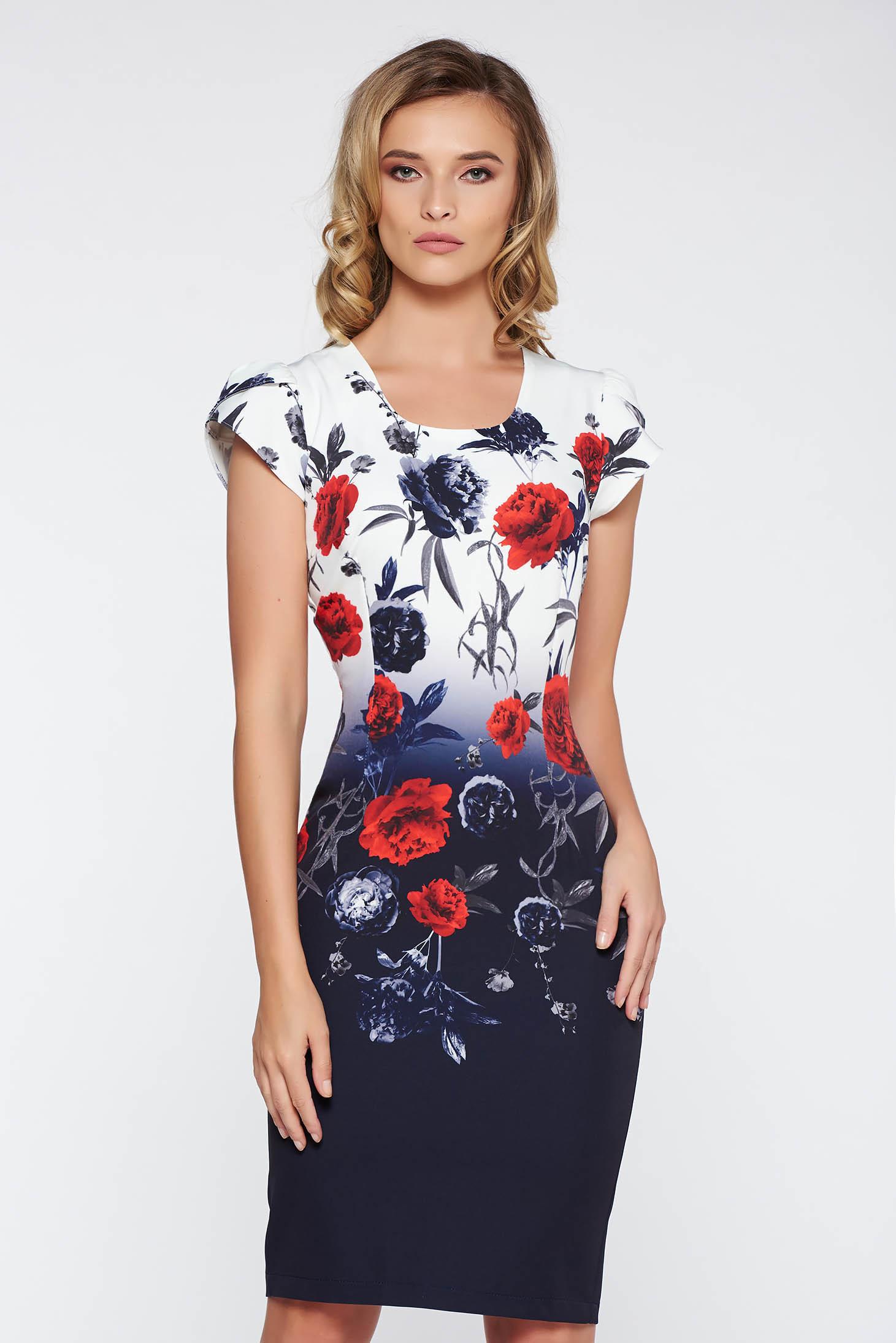 Rochie albastra-inchis eleganta midi tip creion din material usor elastic cu imprimeuri florale