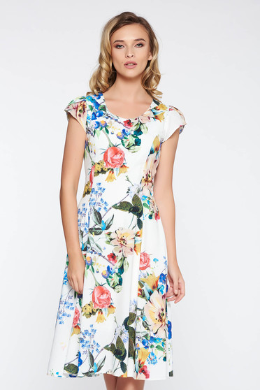 White elegant dress slightly elastic fabric with inside lining with floral prints