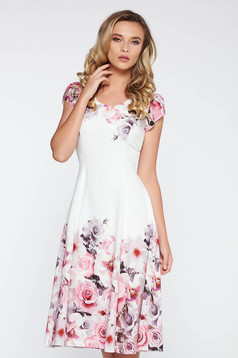 White elegant cloche dress slightly elastic fabric with inside lining with floral prints
